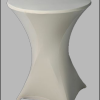 Makkelijk inklapbare statafel met witte rok